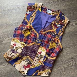 Vintage 1980s Vintage Equestrian Silk Vest